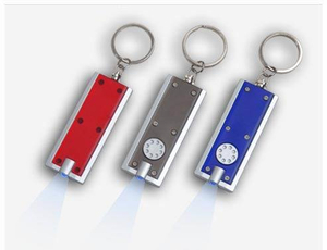 Wholesale Promotion Gift Custom Colorful Logo Printing Popular Simple Light Keychain LED ABS Button Flashlight Key Chain